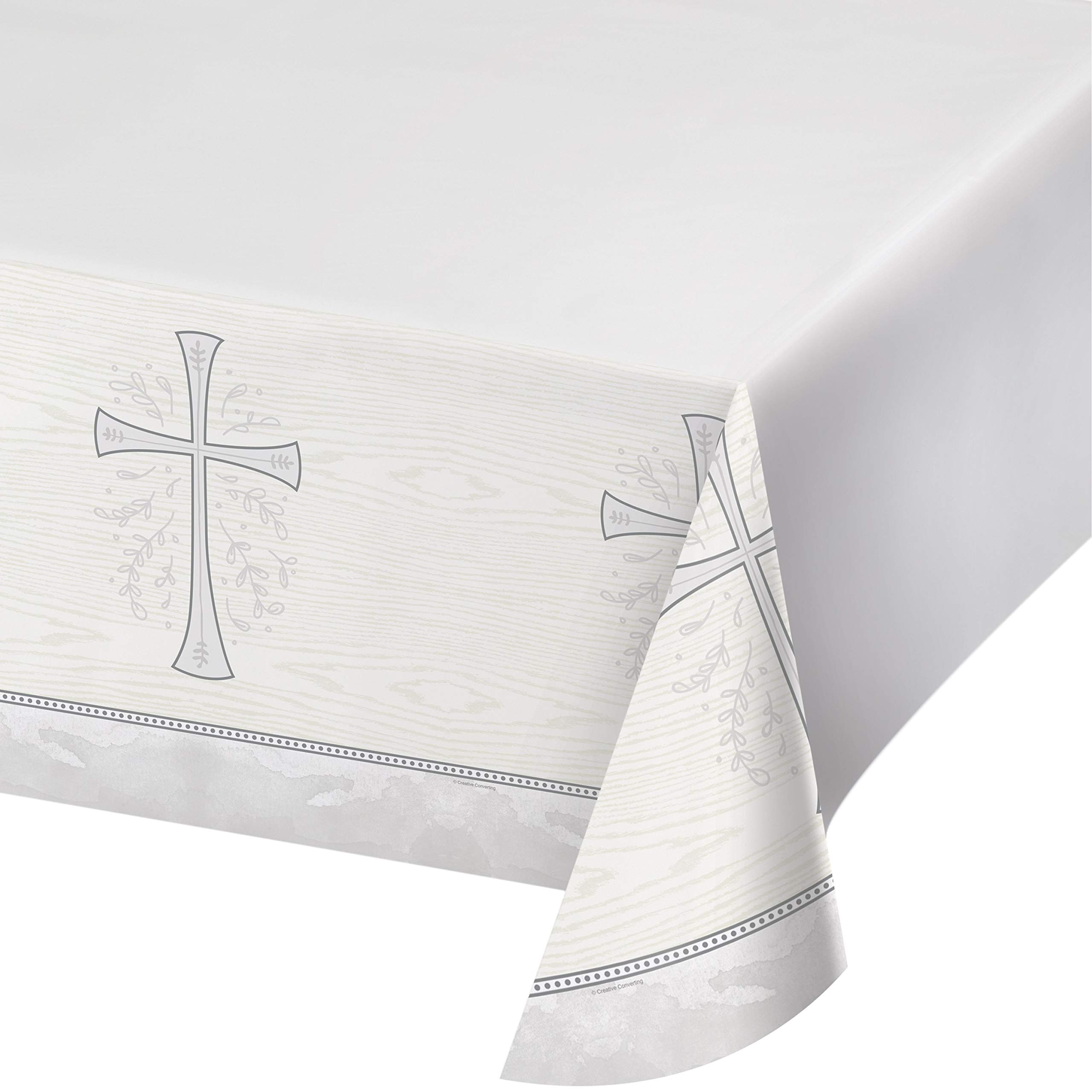 Divinity Silver Plastic Tablecloths, 3 ct by Creative Converting