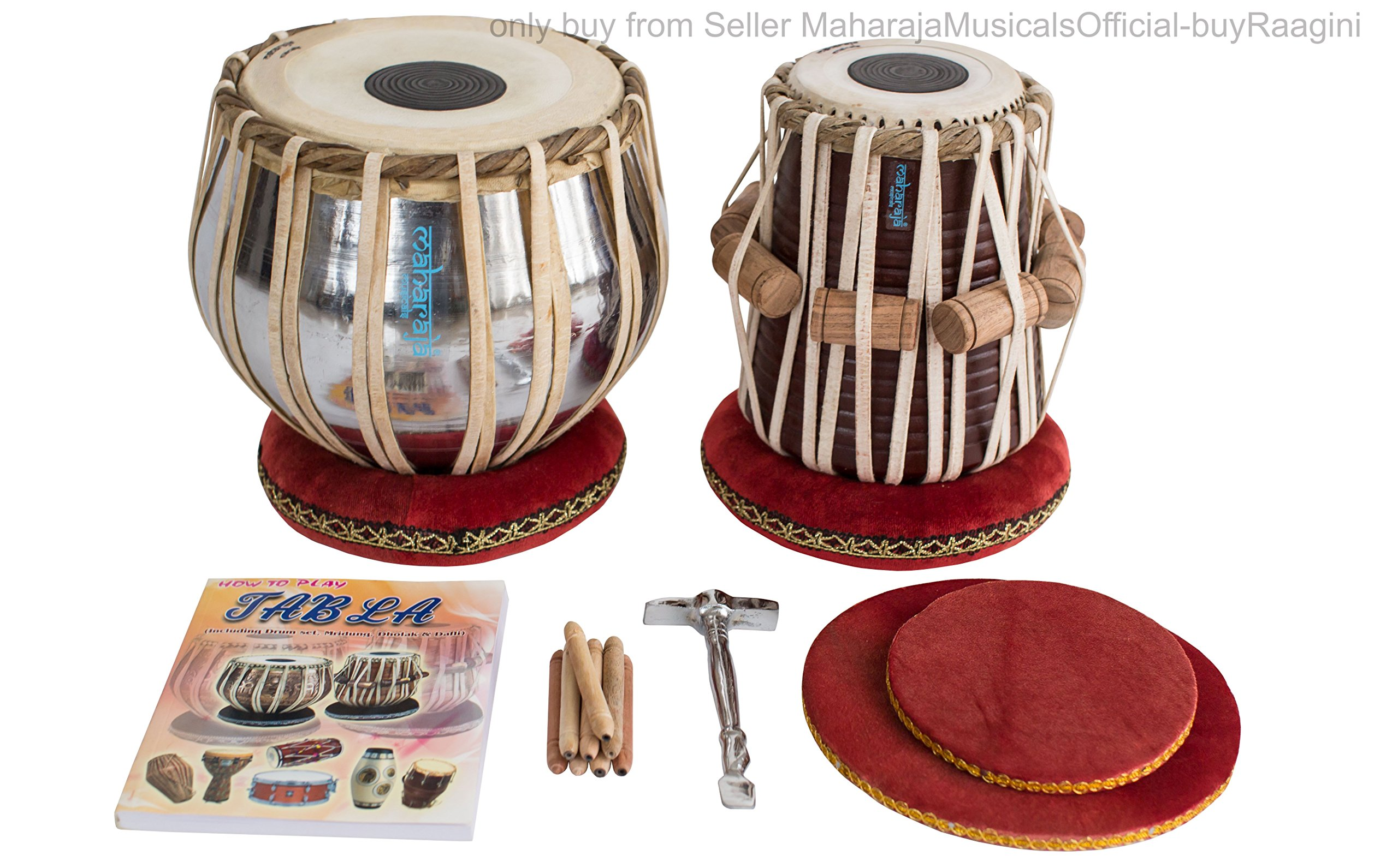 MAHARAJA Student Tabla Drum Set, Basic Tabla Set, Steel Bayan, Dayan with Book, Hammer, Cushions & Cover - Perfect Tablas for Students and Beginners on Budget (PDI-IB) Tabla Drums, Indian Hand Drums by Maharaja Musicals (Image #7)