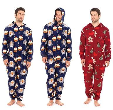 1e102dc4dd37 Mens Fleece CHRISTMAS Xmas Onesie Onesies All In One Pyjamas Romper Play  Sleep Jump Suits  Amazon.co.uk  Clothing