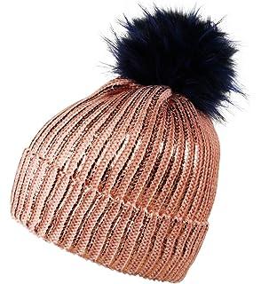 d187bffe6bf0b Itzu Womens Ribbed Shiny Striped Beanie Hat Faux Fur Bobble Pom Pom Winter  Turn Up Pink