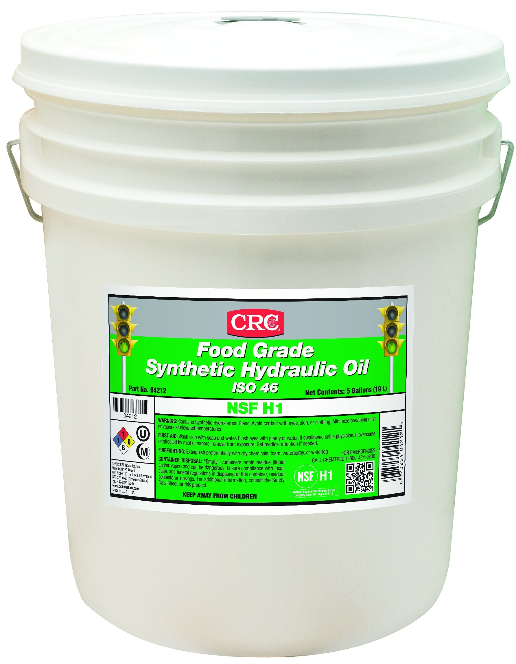 CRC Food Grade Synthetic Hydraulic Oil, -50 to 450 Degrees F Temperature Range, 5 Gallon Pail, ISO 46