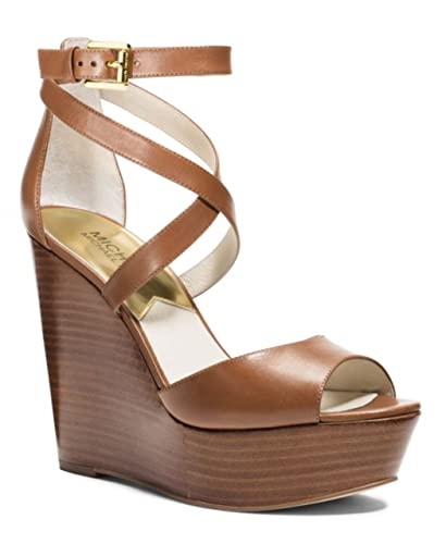 1954efc4c4 Amazon.com | Michael Michael Kors Gabriella Platform Wedges Luggage ...