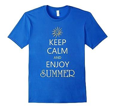 Charming Mens Keep Calm And Hello Summer 2017 Sunshine And Beach T Shirt 2XL Royal  Blue