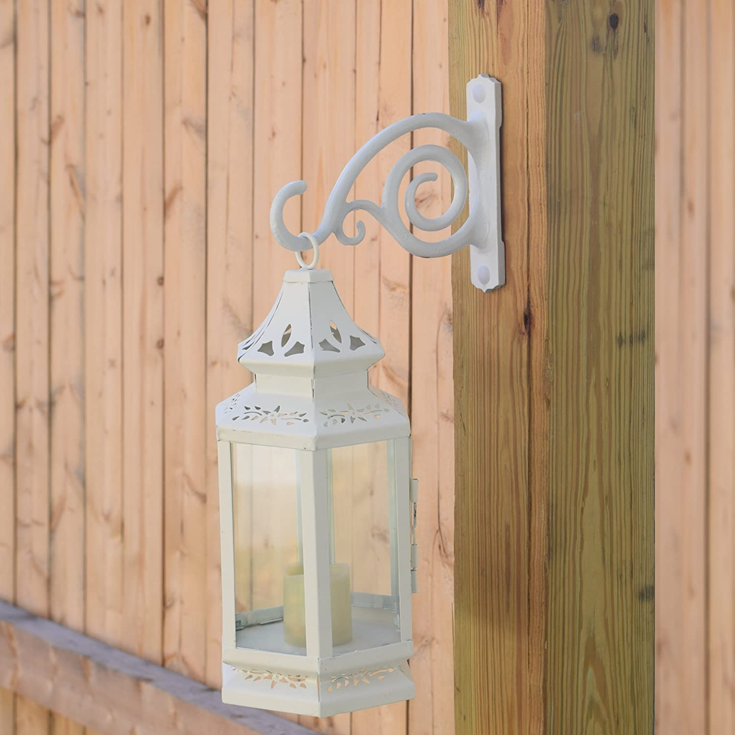 Wind Chimes Planters As Wall Brackets White Gray Bunny Fancy Curved Hook Lanterns 2-Pack for Bird Feeders