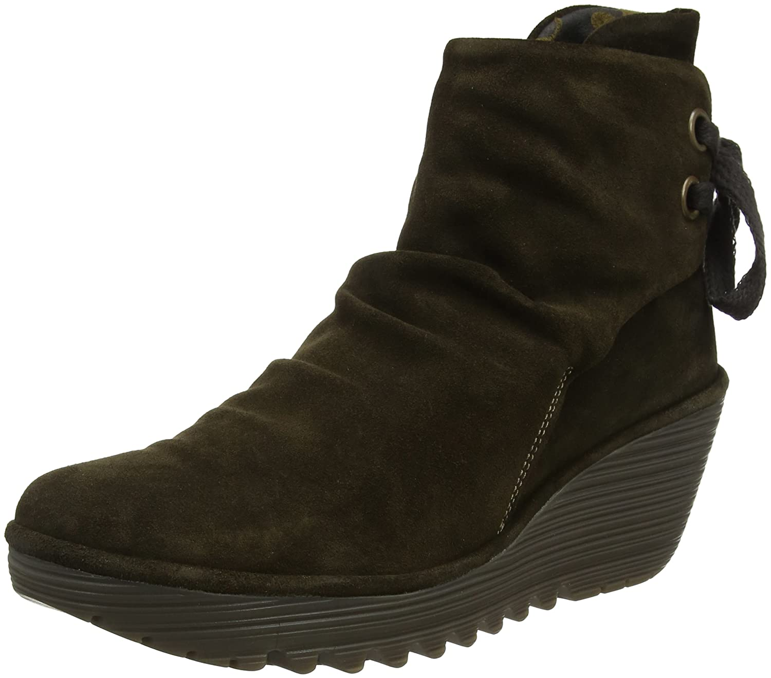 Fly London Sludge) Damen YAMA Kurzschaft Schlupfstiefel Grün (Oil Suede Sludge) London ed60ef