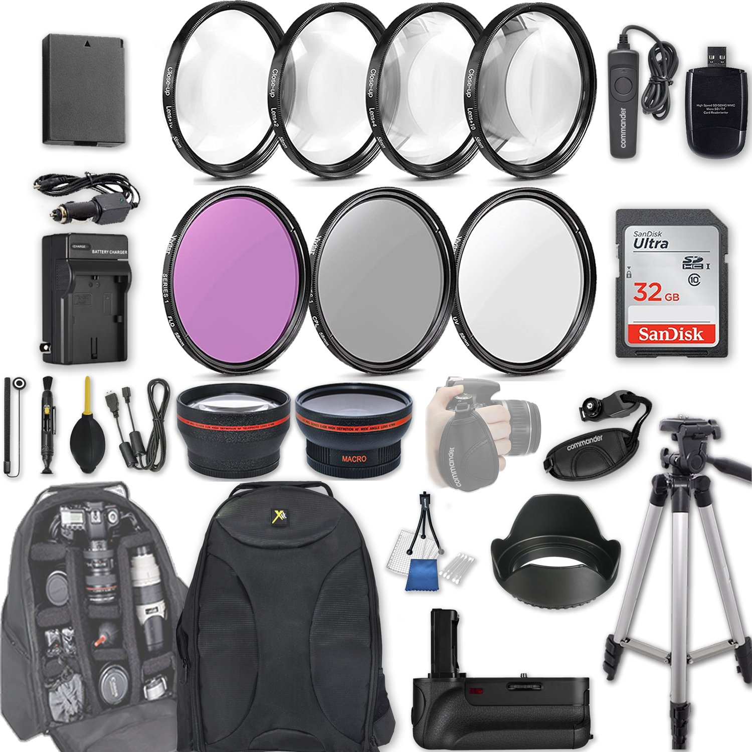 58mm 28 Pc Accessory Kit for Canon EOS Rebel T6, T5, T3, 1300D, 1200D, 1100D DSLRs with 0.43x Wide Angle Lens, 2.2x Telephoto Lens, Battery Grip, 32GB SD, Filter & Macro Kits, Backpack Case, and More by Canon