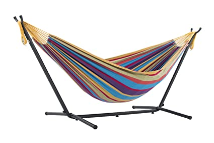 vivere double hammock with space saving steel stand tropical amazon     vivere double hammock with space saving steel stand      rh   amazon