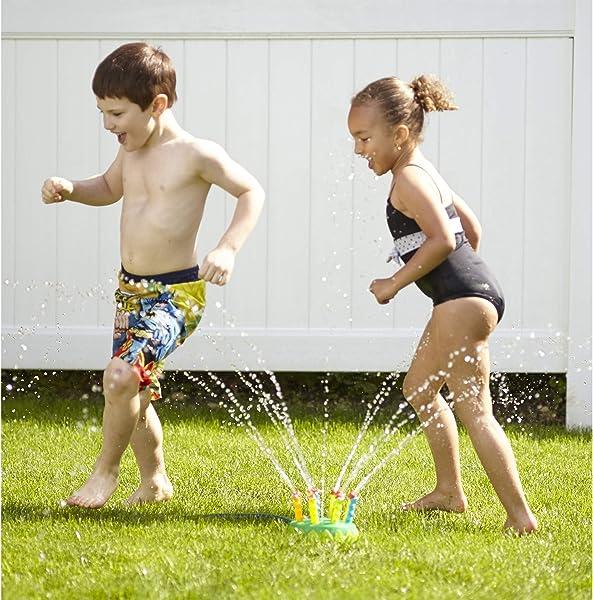 kids playing in the backyard with the Melissa & Doug Sunny Patch Splash Patrol Sprinkler