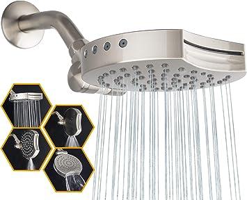 "Rainfall Shower Head High Pressure 4/"" 5 Functions Adjustable Chrome Metal"