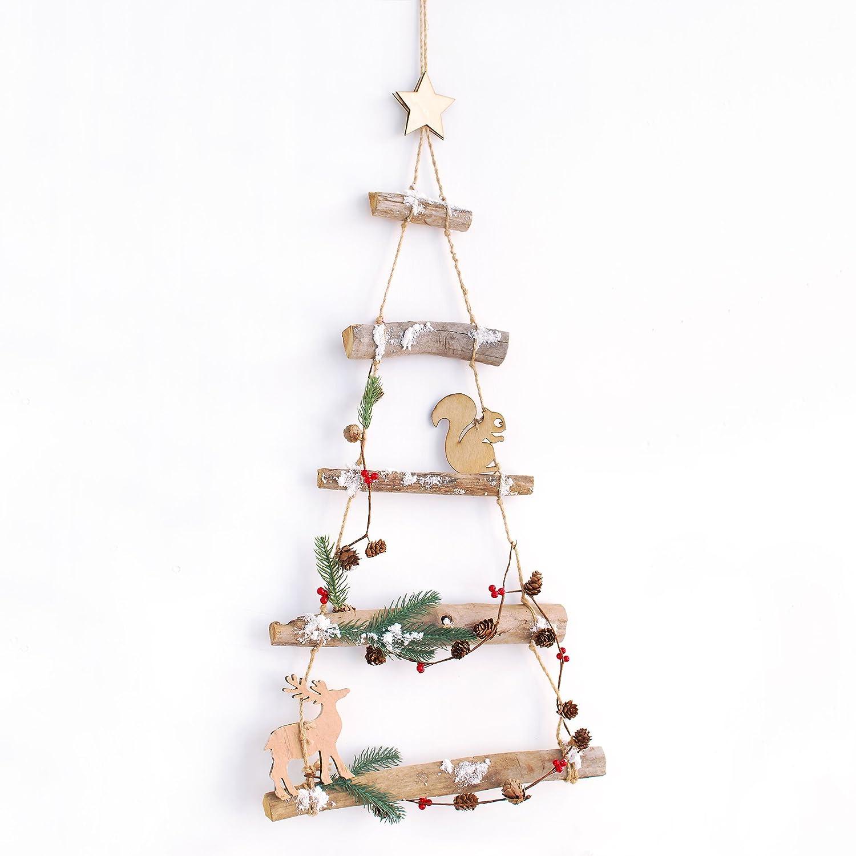 Amazon.de: Woodland Ast Birke Holz Aufhängen Weihnachtsbaum Leiter ...