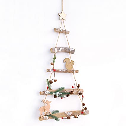 Woodland Branch Birch Wood Hanging Christmas Tree Ladder Wooden Wall