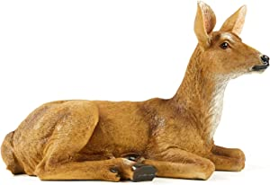 JHVYF Small Doe Statuary Resin Statue Garden Lying Sculptures Cabin Animal Figurines Lodge Art Décor for Indoor Outdoor Home Or Office