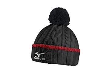 efb38526b40 Mizuno Cable Knit Bobble Hat - Black Red