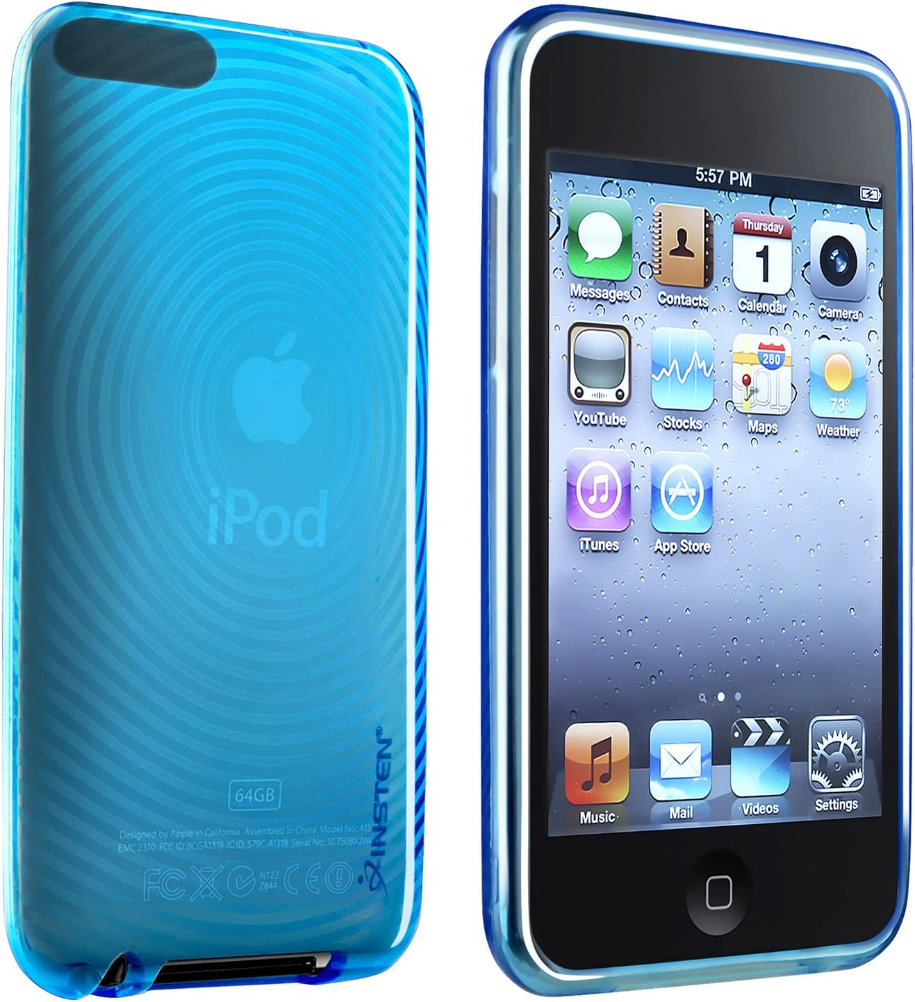 Insten TPU Rubber Skin Case Cover Compatible with iPod Touch 2G 2 2nd / 3G 3 3rd Gen Generation, Clear Blue Concentric Circle