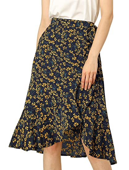 Buy Allegra K Women S Floral Print Asymmetrical Skirts Tie Waist Ruffle Wrap Skirt Xs Navy Blue At Amazon In