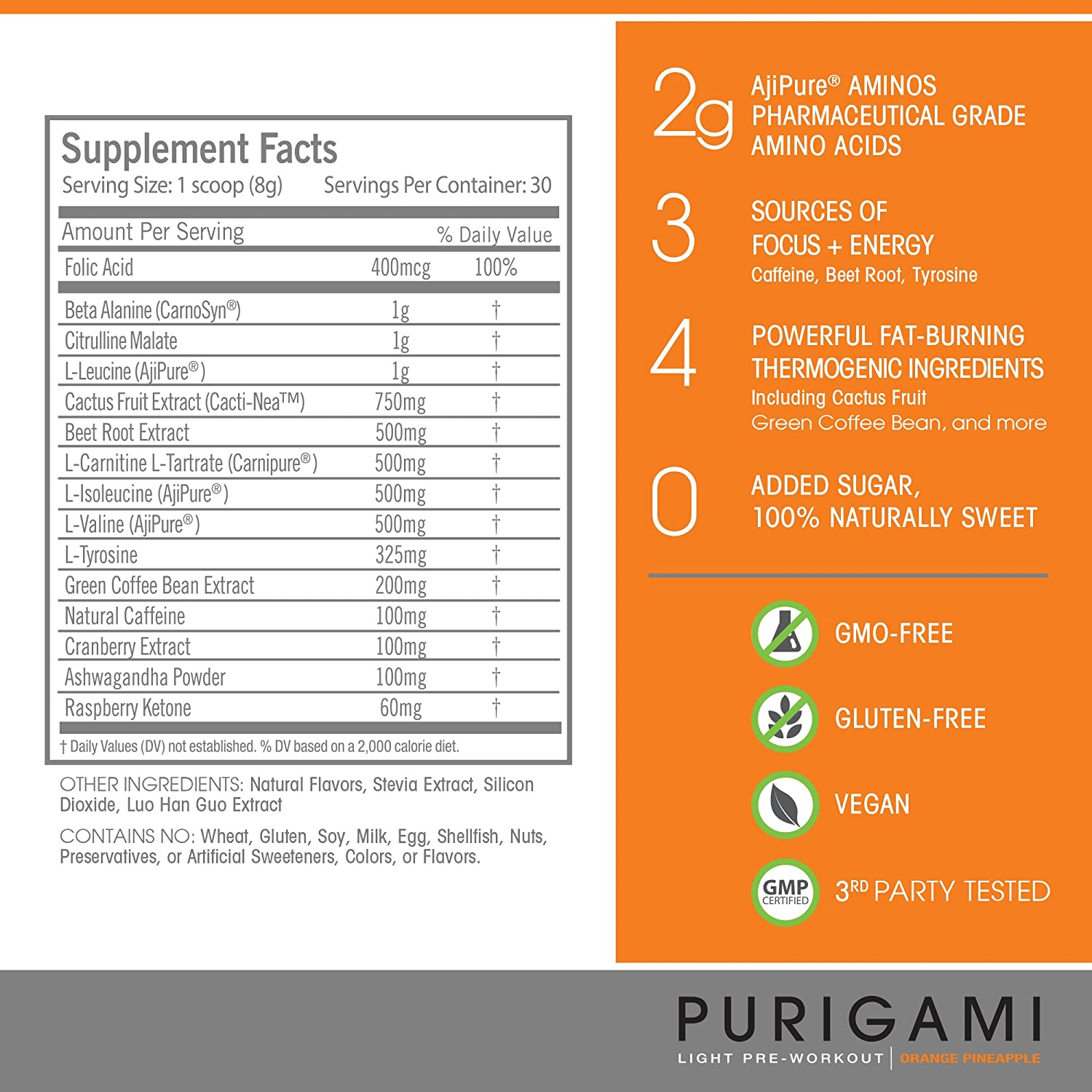 Purigami Natural Light Pre-Workout Powder, Orange Pineapple Flavor and Energy Boosting Supplement – Fat Burner, Vegan, Non-GMO Gluten Free to Improve Workouts and Fitness – 30 Servings