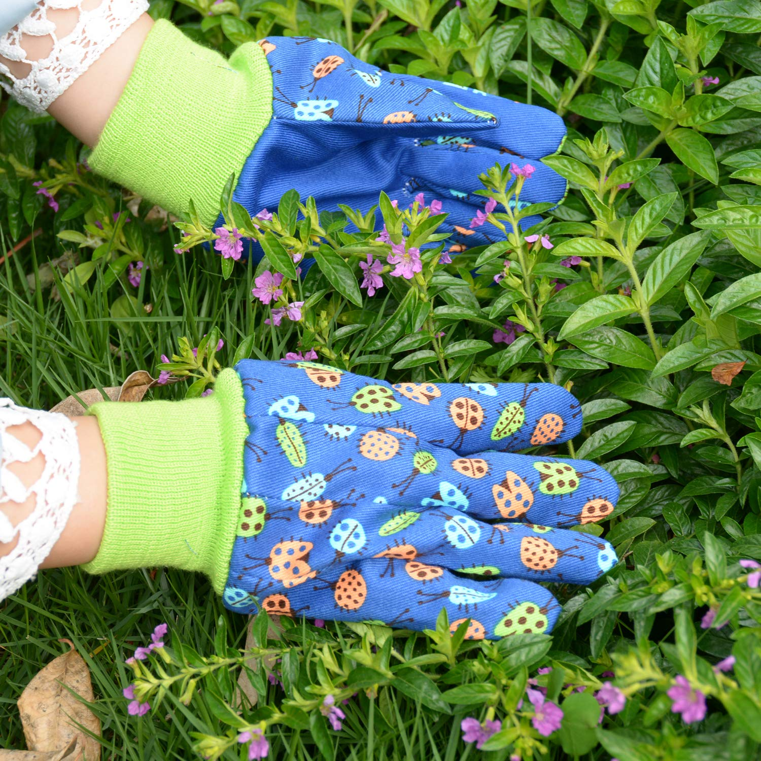 age 7-8 Kids Gardening gloves for age 5-6 age7-8 Dot /& Butterfly /& Ladybird Print 2 Pairs Cotton Garden Gloves for girls boys Medium Pink butterfly + dot
