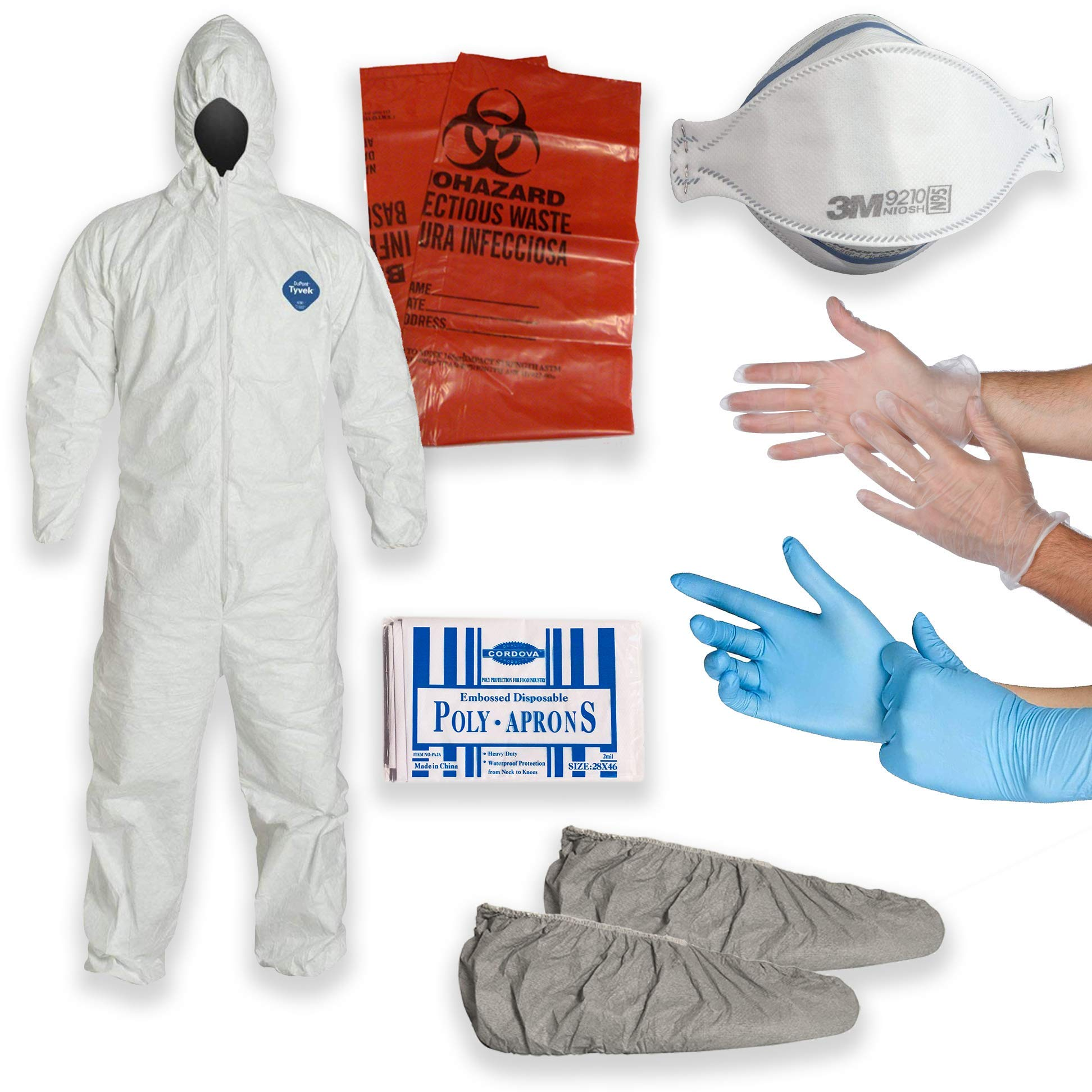 Tyvek Multipurpose Cleanup Kit: Large Tyvek TY127 Coverall Suit, Shoe Covers, 3M 9210 N95 Respirator Mask, Polyethylene Apron, 2 Pair of Protective Gloves, Biohazard Disposal Bag