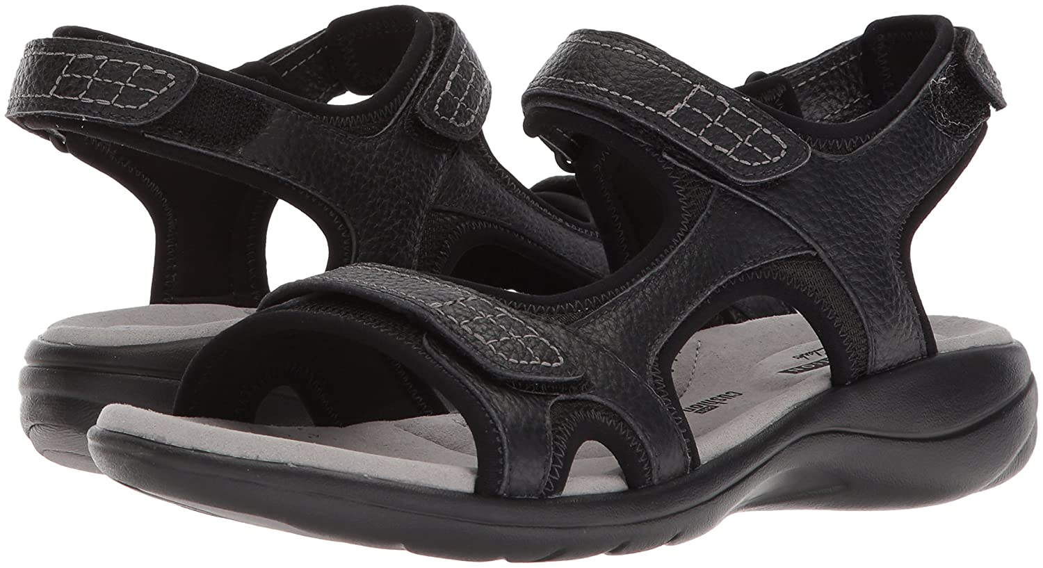 CLARKS Women's Saylie Jade Sandal B074CLMJPP 12 W US|Black Tumbled Leather