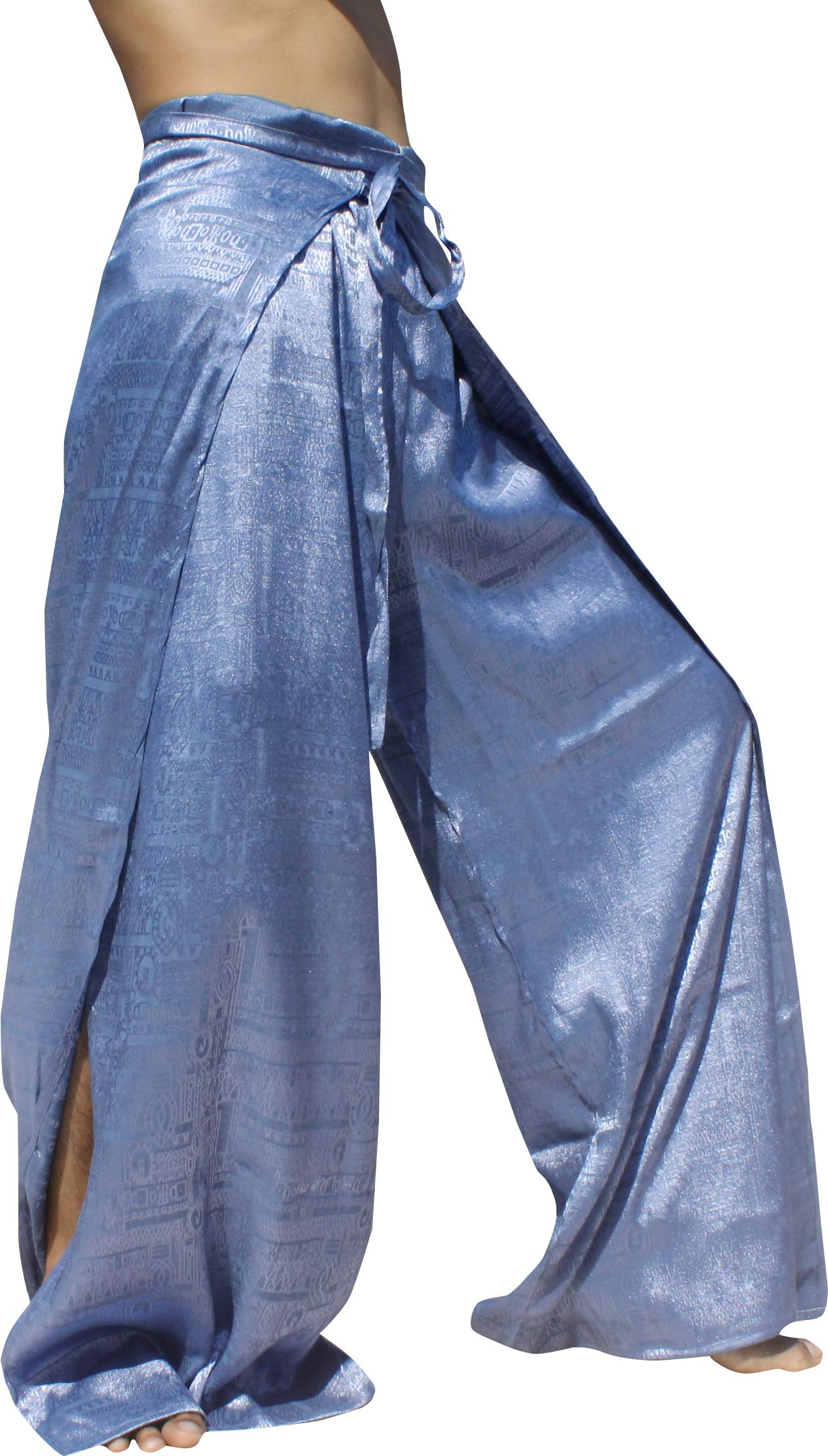 RaanPahMuang Brand Geometric Thick Textured Silk Drive In Wrap Pants, Medium, Light Blue by RaanPahMuang