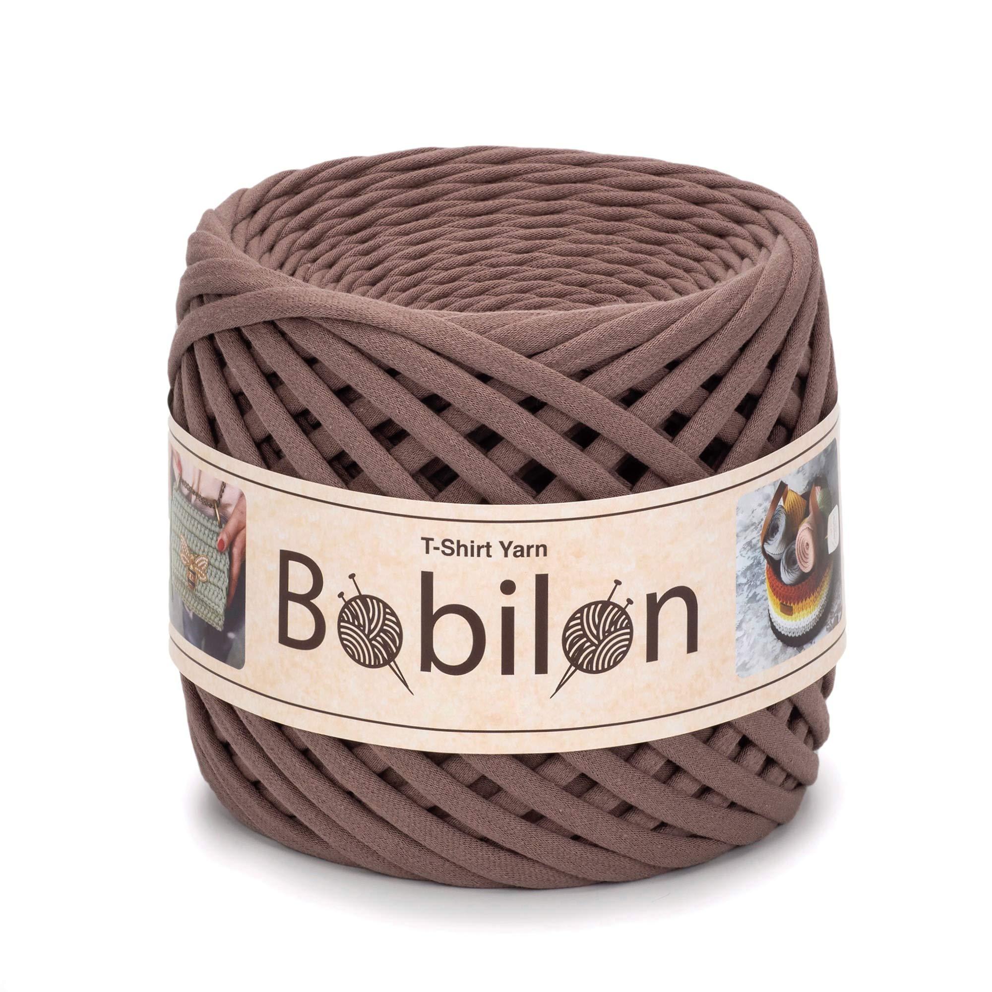 T-Shirt Yarn Fettuccini Zpagetti Style - Tshirt Yarn for Crocheting - Ribbon Yarn 100% Cotton - Knitting Yarn Ball - T Yarn Organic - Macrame T-Yarn - Thick Fabric Yarn - Jersey Yarn Cocoa