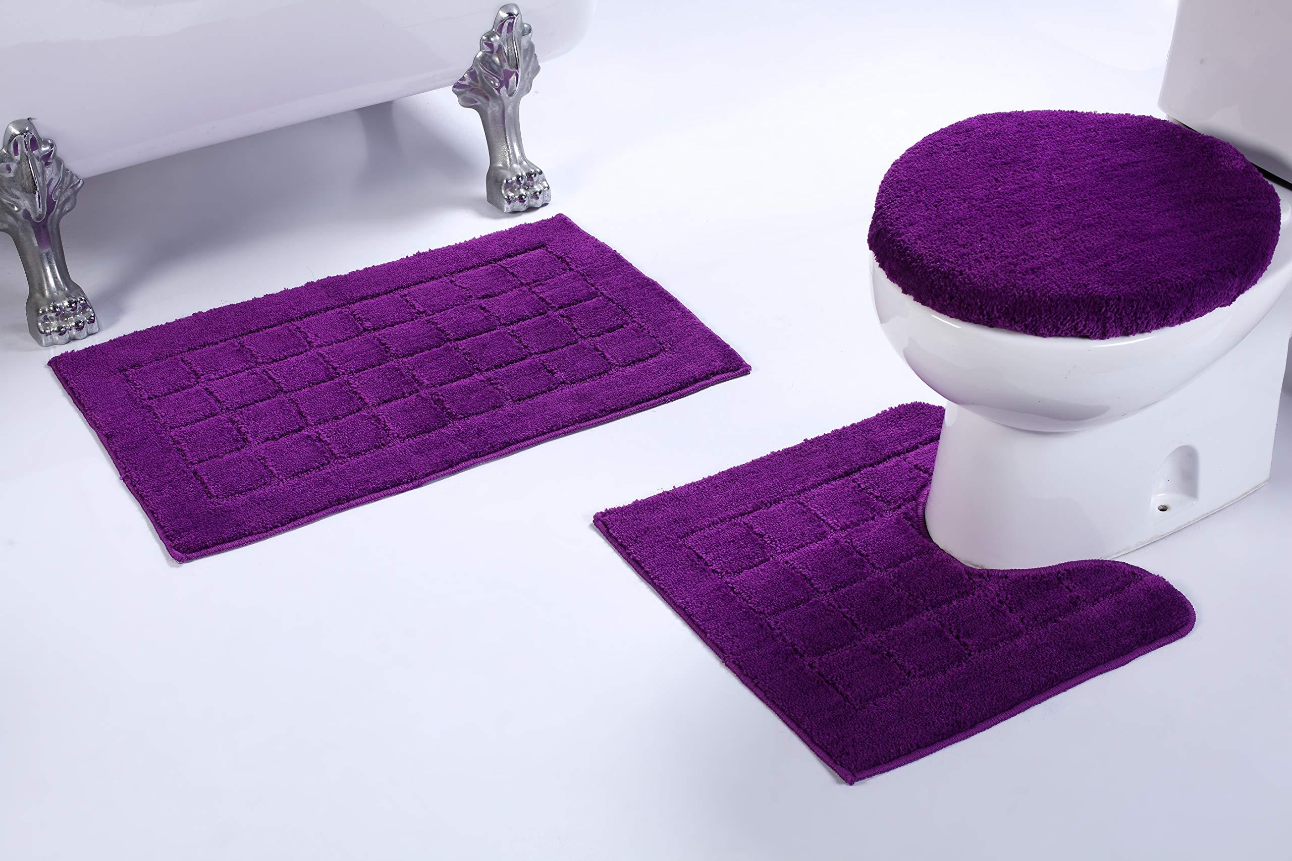 Fancy Linen 3pc Non-Slip Bath Mat Set with Square Pattern Solid Purple Bathroom U-Shaped Contour Rug, Mat and Toilet Lid Cover New # Bath 60 by Fancy Linen LLC
