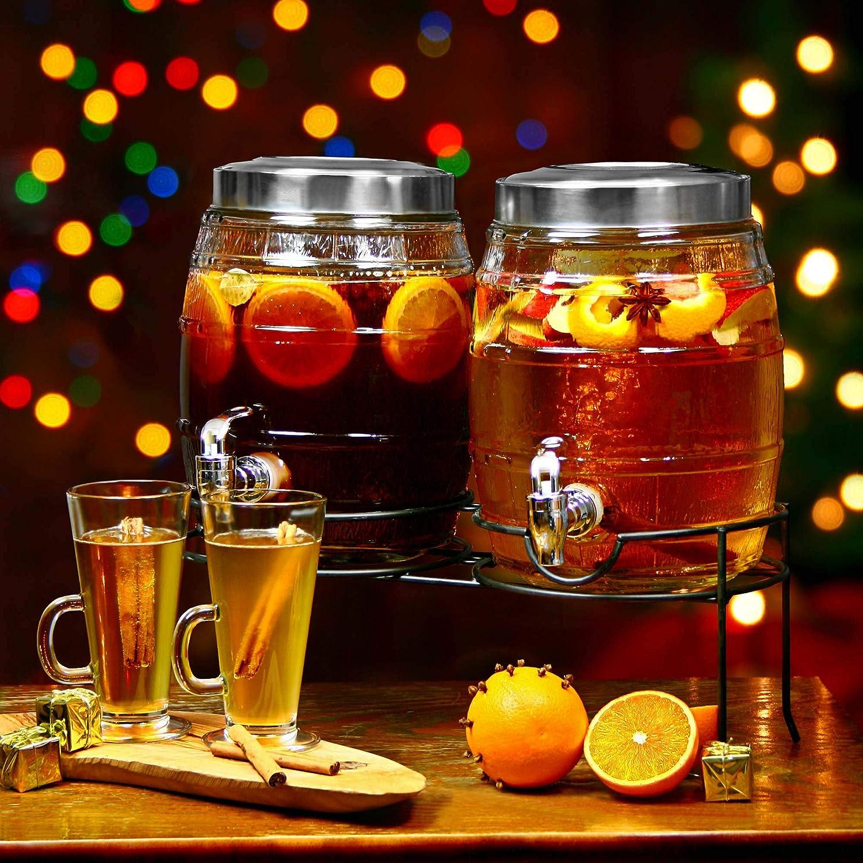 Dual Barrel Beverage 10ltr Dispenser with stand,Glass Drinks Dispenser