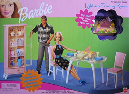 Amazon.com: Barbie Light Up Dining Room Playset (1999): Toys ...