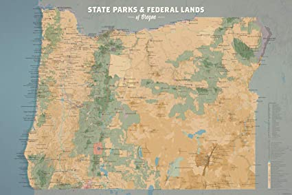 Best Maps Ever Oregon State Parks & Federal Lands Map 24x36 Poster (Camel &  Slate Blue)