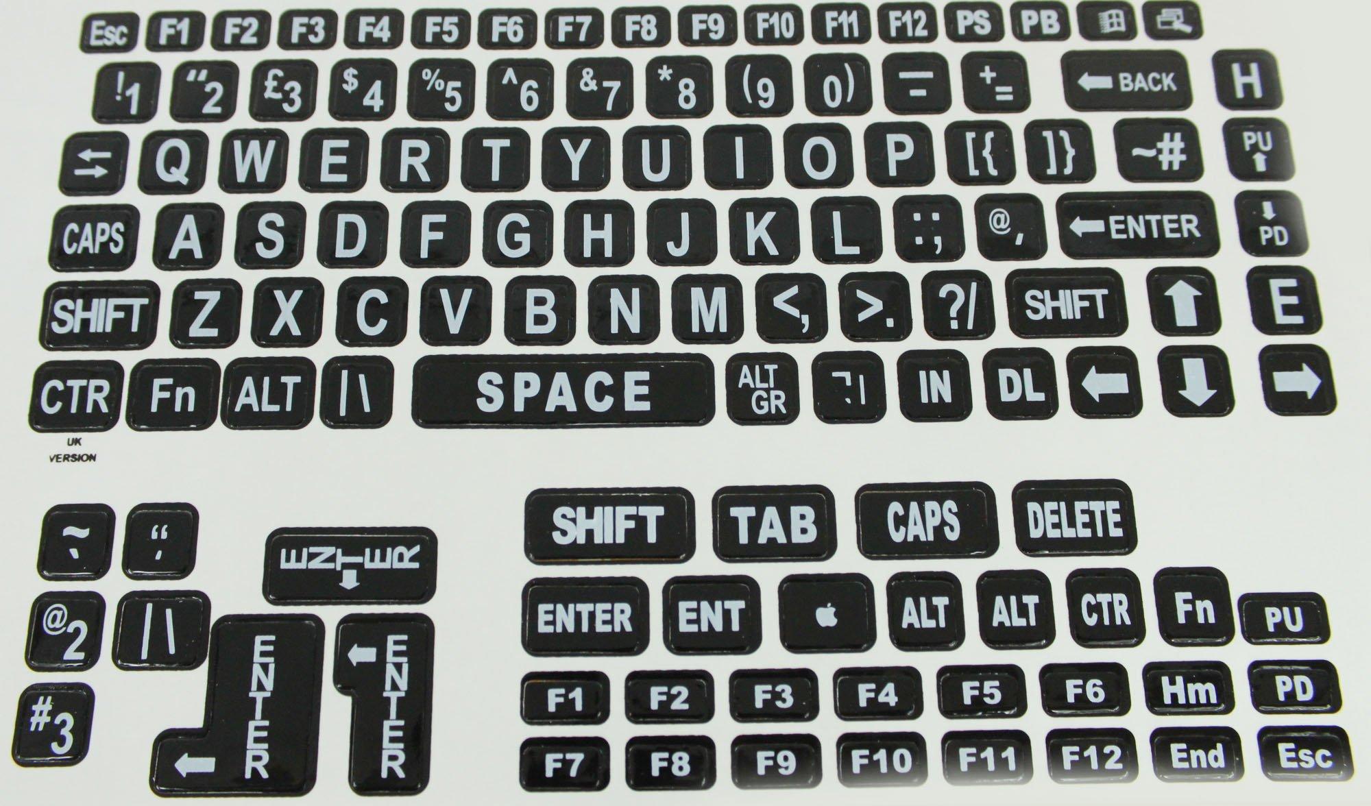 Large Print Keyboard Laptop Labels - White on Black