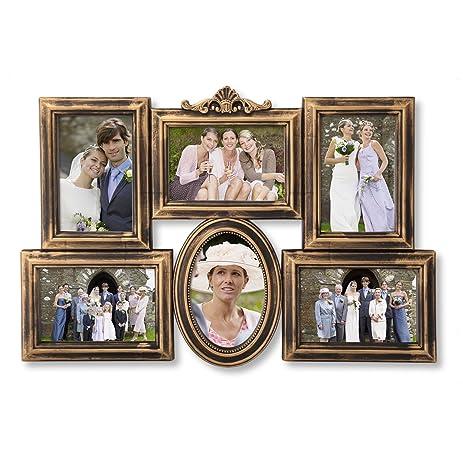 Amazon.com - Adeco 6 Opening Antique Gold Detailed Collage Wedding ...