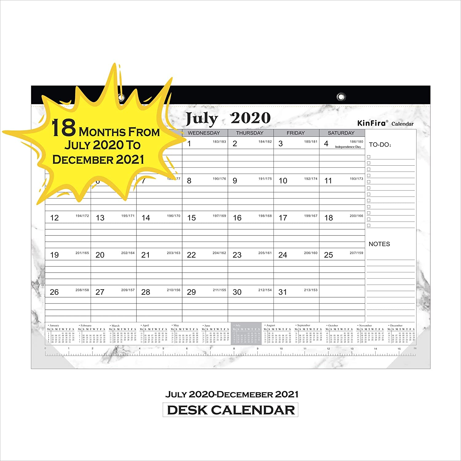 "Kinfira Desk Calandar 18 Months Academic Desk Wall Calendar with Corner Protector & Ruler Desktop Agenda and Daily Weekly Planner Large Table Calandar(17""x12"")"