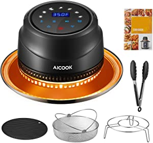 AICOOK Air Fryer Lid for Instant Pot 6&8 Qt, 7 in 1 Air Fryer Lid with LED Touchscreen, Turn Your Pressure Cooker Into Air Fryer in Seconds, Air Fryer Accessories and Recipe Cookbook Included