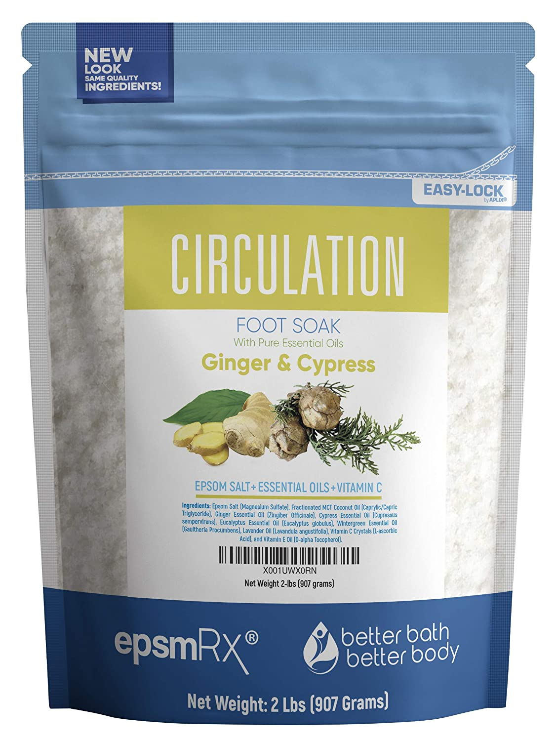 Circulation Foot Soak 32 Ounces Epsom Salt with Ginger, Cypress, Eucalyptus, Wintergreen and Lavender Essential Oils Plus Vitamin and All Natural Ingredients BPA Free Pouch with Easy Press-Lock