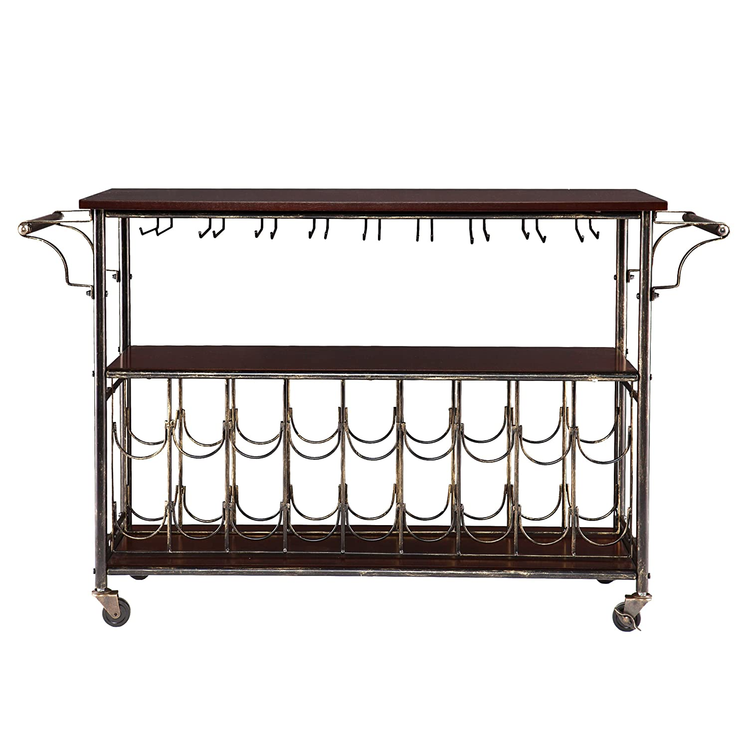 Rolden Wine Bar Cart – Hanging Space Underneath – Expresso w Brushed Black Gold Finish