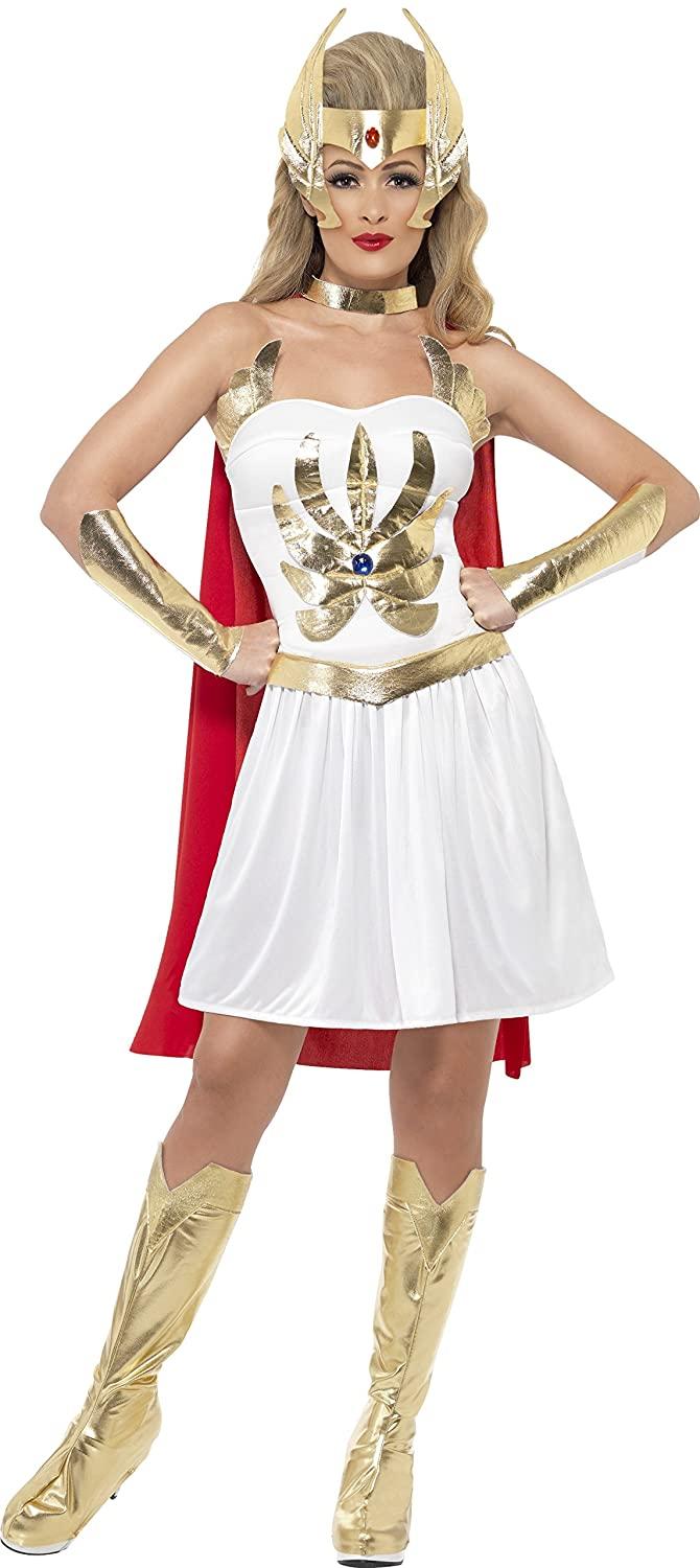 She-Ra Costume Dress Arm Cuffs Bootcovers Head Piece and Cape - Six Sizes from S to X-Large