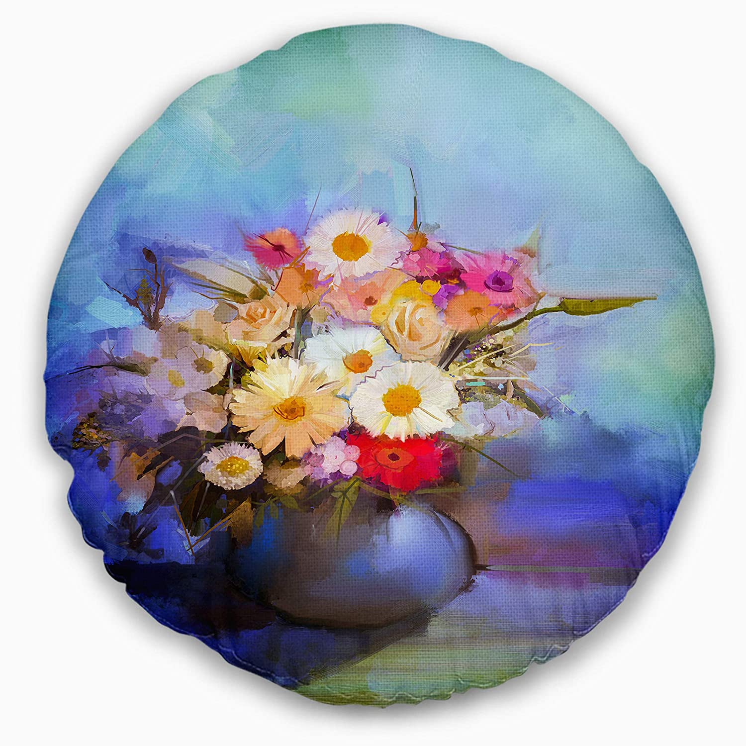 Sofa Throw Pillow 20 Designart CU14113-20-20-C Beautiful Flowers Bouquet on Blue Floral Round Cushion Cover for Living Room