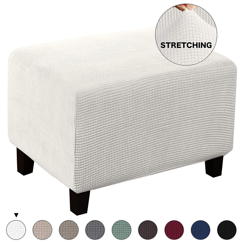 Stretch Oversize Ottoman Slipcover Spandex Elastic Rectangle Footstool Sofa Cover Folding Storage Stool Furniture Protector Elastic Rectangle Footstool Sofa Cover for Living Room (Oversize, Ivory)
