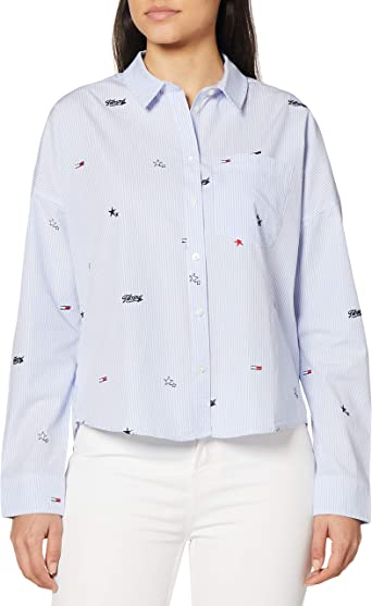 Tommy Jeans Camisa Critter Azul para Mujer: Amazon.es: Ropa y ...