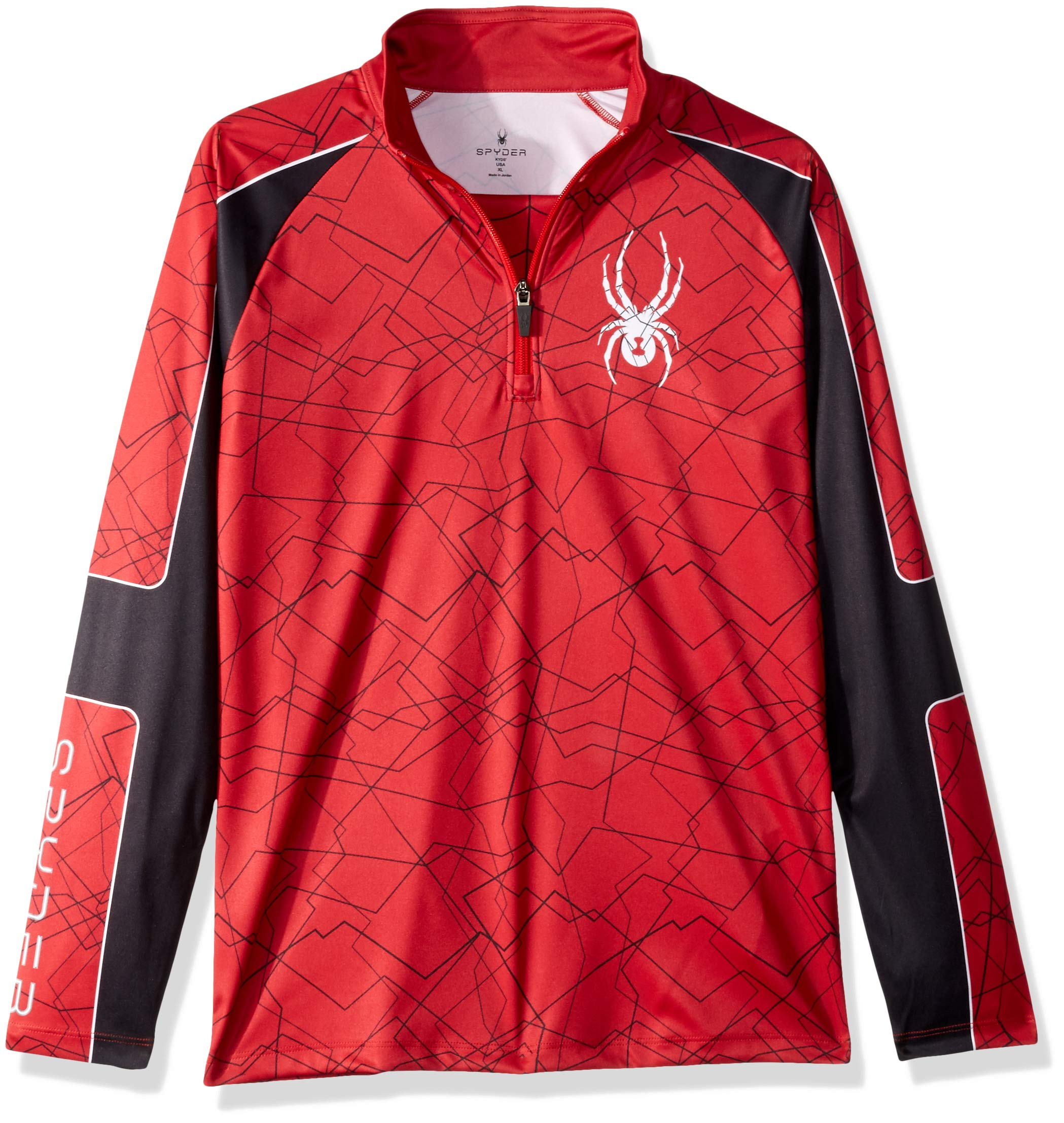 Spyder Boys' Limitless Challenger Half Zip T-neck Shirt, Red/Black/Red, Large by Spyder