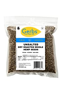 Unsalted Whole Hemp Seeds 4 LBS by Gerbs - Top 14 Food Allergy Free, 100% All Natural, Vegan, Keto Safe & Kosher. Made in America