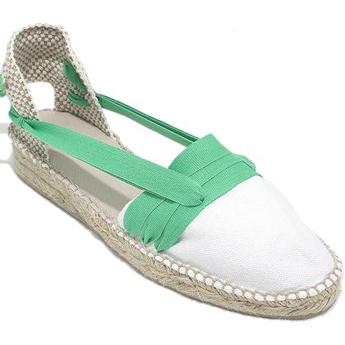 Alpargatas Hechas a Mano Tradicionales de Media Cuña Diseño Tres Vetas Color Verde Claro: Amazon.es: Zapatos y complementos