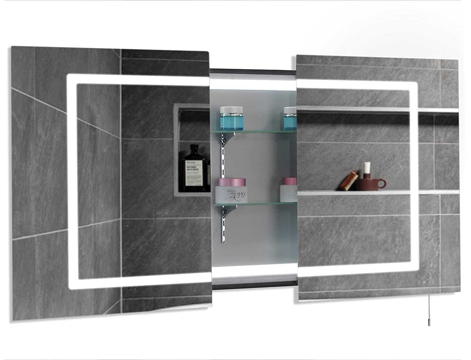 Mirror Cabinet Illuminated Shaving Mirror for Bathroom Sliding Door - Wall Mount - 1 Year Warranty - 900 x 600mm Hapilife