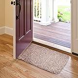 "Indoor Doormat Absorbent Mats 28""x18"" Latex Backing Non Slip Door Mat for Small Front Door Inside Floor Mud Dirt Trapper Mats Cotton Entrance Rug Shoes Scraper Machine Washable Carpet Brownish Tan"
