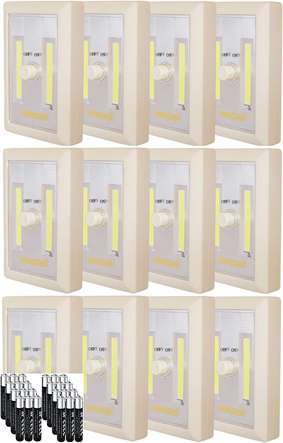 New Version Battery Operated LED Night Lights Tap Light Adjustable Brightness White 3 AAA Batteries /& Adhesive Strips Included Dimmable AAA Battery Included COB LED Cordless Light Swtich