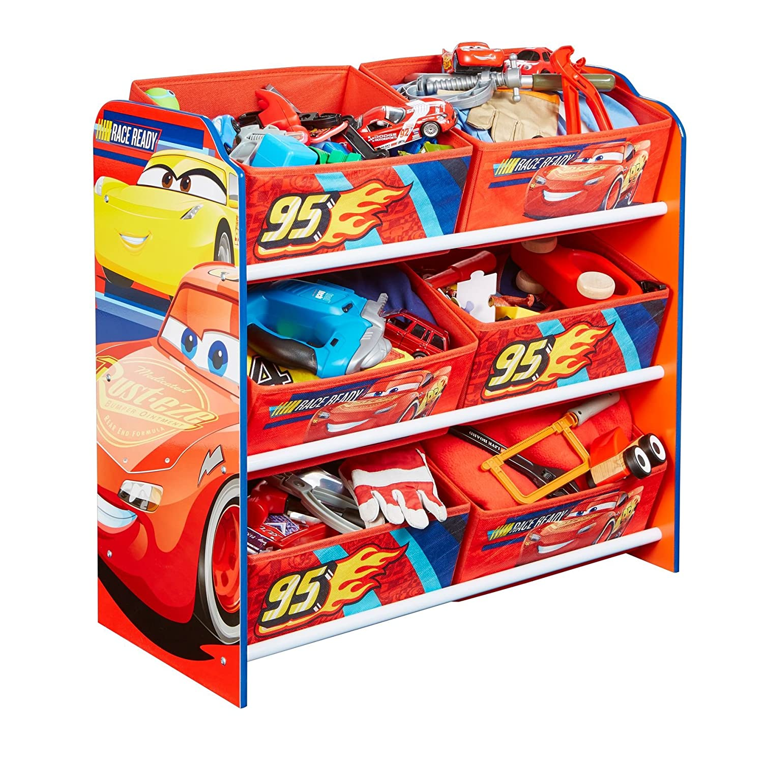 Disney Cars Kids Bedroom Storage Unit with 6 Bins by HelloHome Worlds Apart 471CAA
