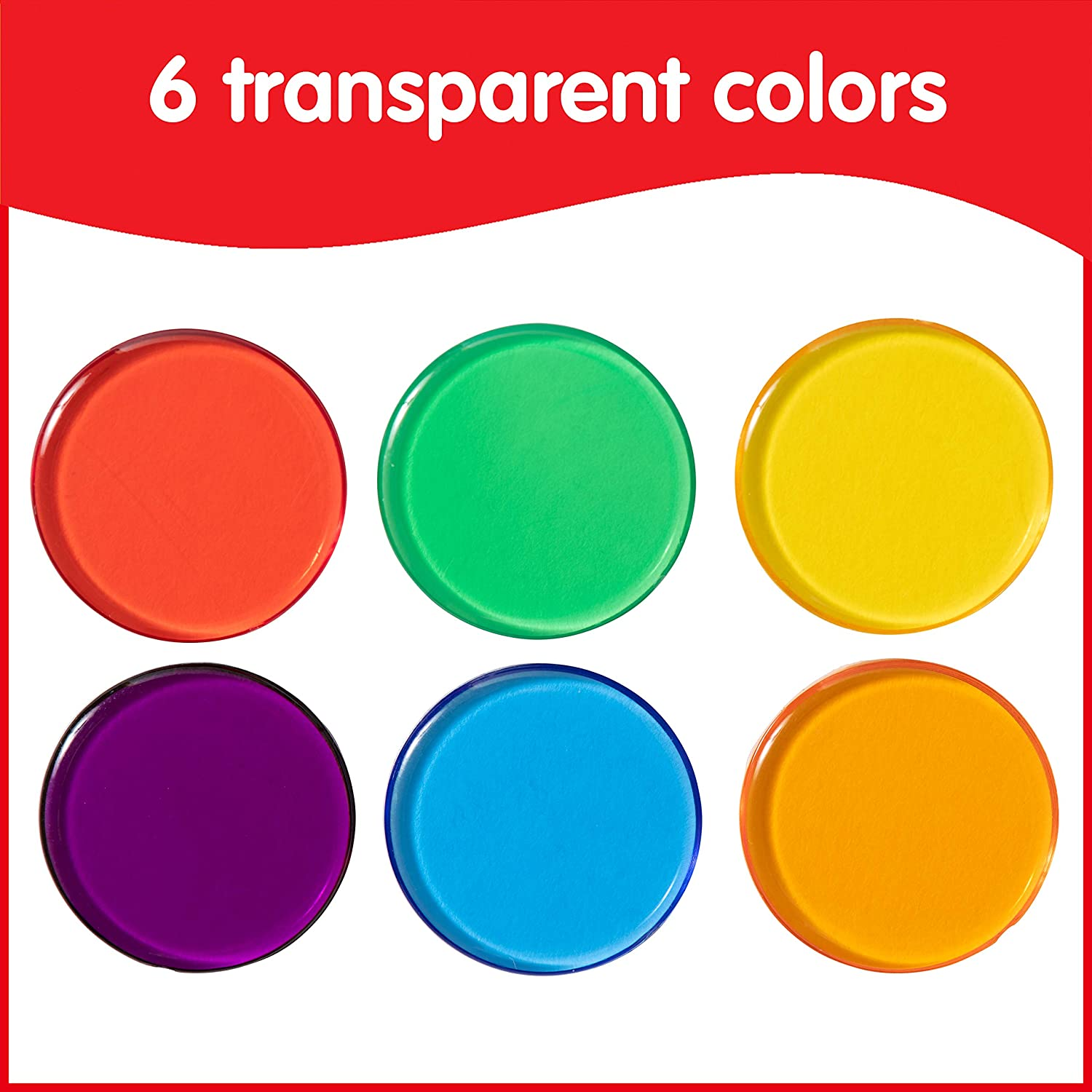 Bingo and More Edx Education Transparent Counters Assorted Colors Sorting 3//4 in Light Panels Counting Chips for Kids Math Set of 500 Counting