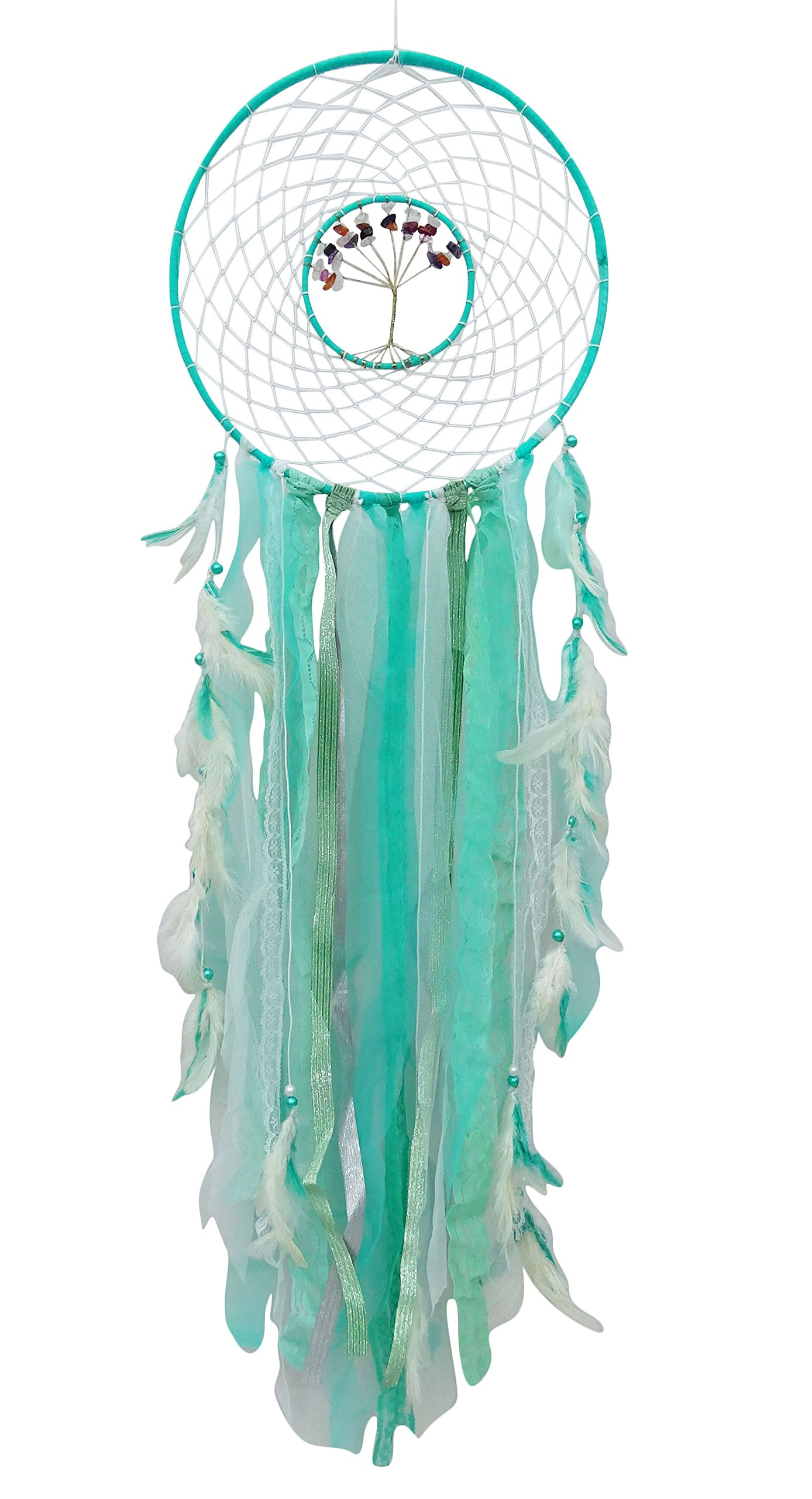 SuSvapnaah Net Ribbons & Faux Feather Dreamcatcher Large Boho Nursery Decor Dream Catcher Wall Hanging
