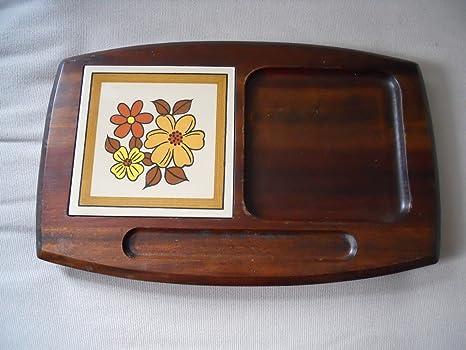 Vintage vassoio formaggio tagliere in legno con piastrelle di