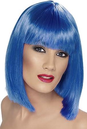 Smiffys Peluca glamurosa, azul, corta, despuntada con flequillo